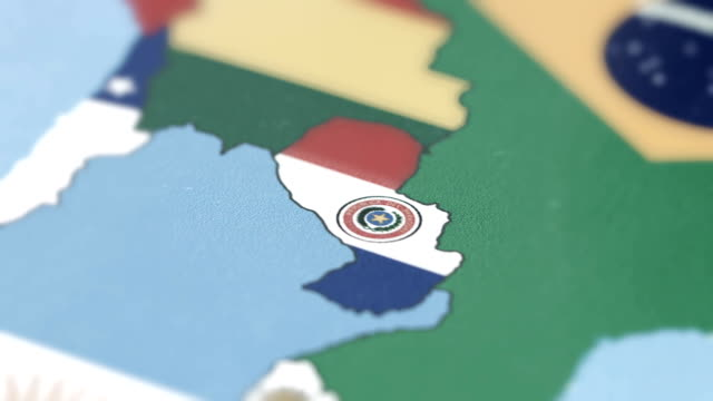 Paraguay Borders wiht National Flag on World Map