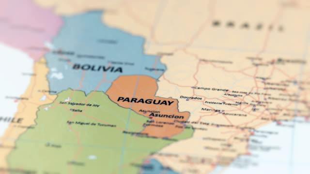 vídeos y material grabado en eventos de stock de américa del sur paraguay en mapa del mundo - las américas