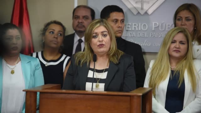 paraguayan general state prosecutor sandra quinonez talks during a press conference at the general state prosecutors office in asuncion after a... - vermelho stock videos and b-roll footage
