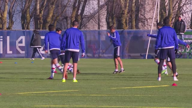 Paraguay's national football team train for their Copa America semi final clash against Argentina