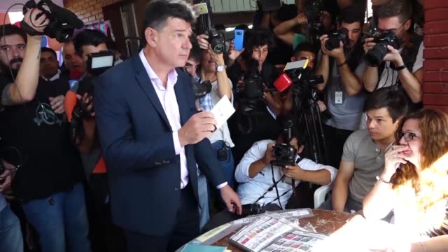 paraguay's presidential candidate for the liberal party efrain alegre casts his vote at a polling station in asuncion - alegre stock videos & royalty-free footage