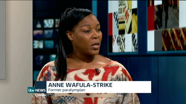 paralympian anne wafula strike completes 'tough mudder' challenge london gir int wafula strike live studio interview sot - tough mudder stock videos and b-roll footage