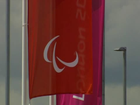 Paralympic flags wave in the breeze outside of the Olympic Stadium