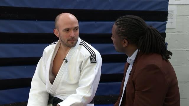 judo: paralympics gb announces its squad; england: int various shots sam ingram competing in judo match or training sam ingram interview sot various... - 柔道点の映像素材/bロール
