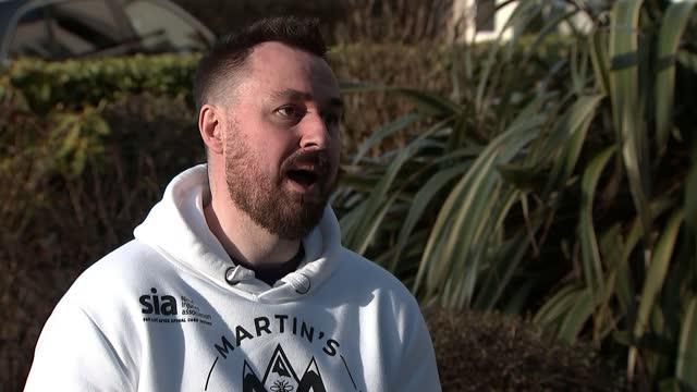 paralysed survivor of manchester arena bombing to climb mount kilimanjaro; england: manchester: ext martin hibbert interview sot - natural landmark stock videos & royalty-free footage