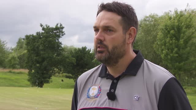 paralysed westminster terror attack victim plays golf again with aid of technology; england: ext kris aves interview sot cutaways reporter talking to... - accuracy stock videos & royalty-free footage