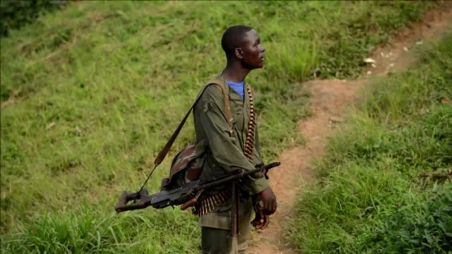 Paramilitary leader Janvier Buingo Karairi holds a meeting with his APCLS Alliance of Patriots for a Free and Sovereign Congo troops in the village...