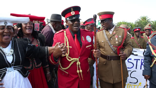 """paramount chief adv. vekuii rukoro dances after inaugurating a new street named """"dr kuaima riruako"""" during high-ranked chiefs and other members of... - tradition stock videos & royalty-free footage"""