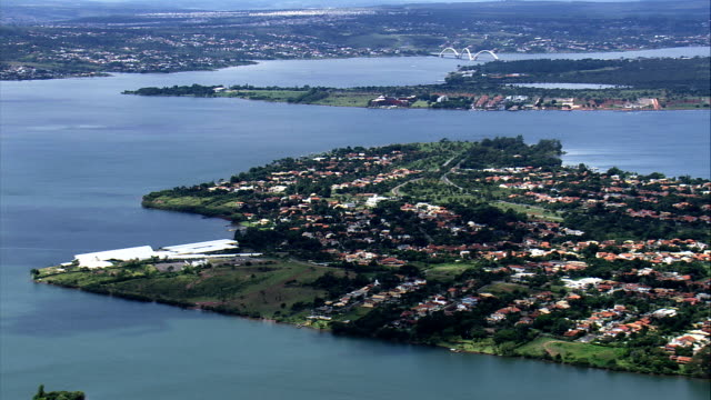 paranoa lake  - aerial view - federal district, brasília, brazil - brasilia stock videos and b-roll footage