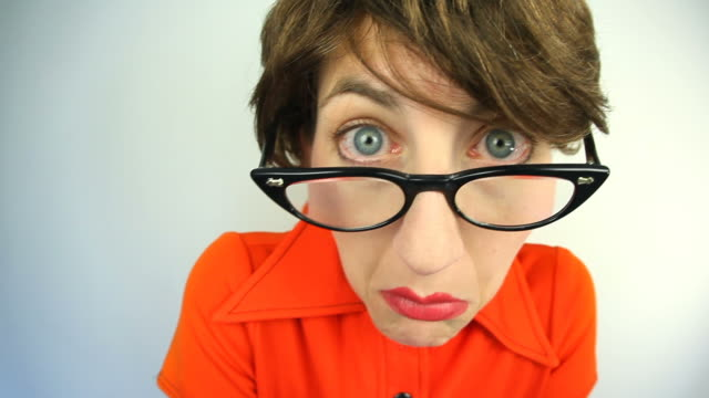 paranoid nerd - cat's eye glasses stock videos and b-roll footage