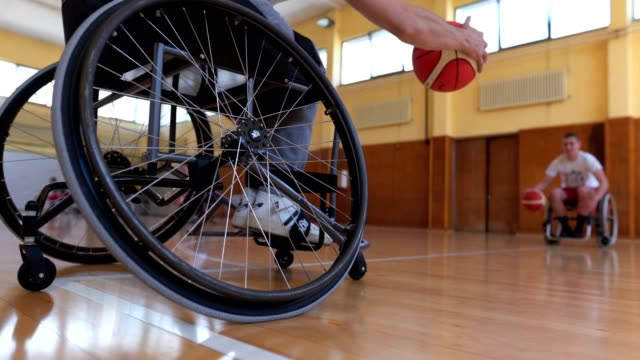 paraplegic basketball players training basketball - paraplegic stock videos & royalty-free footage