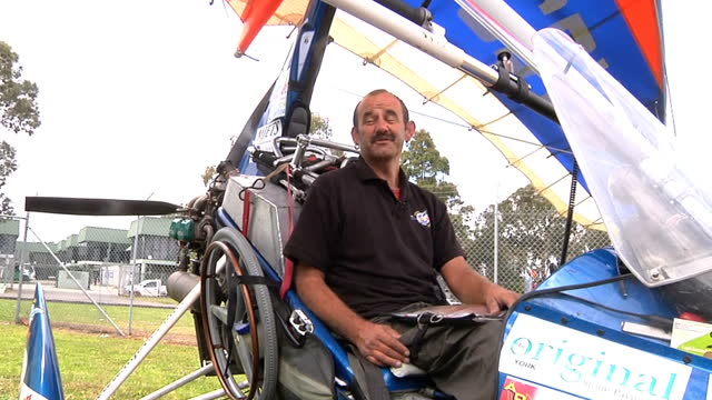 paraplegic british pilot has arrived in sydney after flying almost 12 thousand miles from the uk in a microlight. dave sykes' epic journey,... - epic film stock videos & royalty-free footage