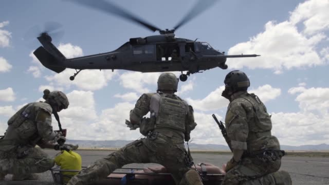 Pararescue training with UH60 Black Hawk helicopter in New Mexico