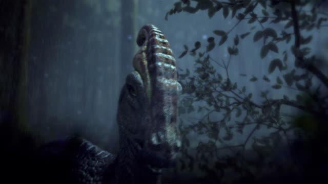 A Parasaurolophus stands in a rainy forest: a 3D animation depicts the auditory cortex of a Parasaurolophus.