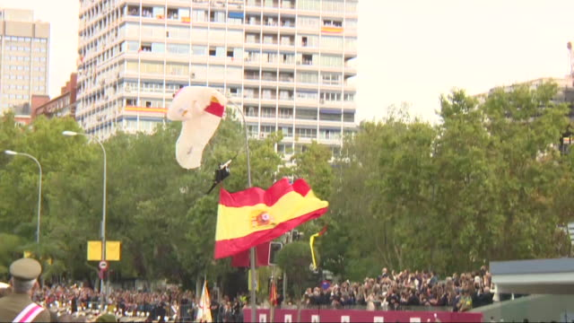 paratrooper who participated in the events on the occasion of the hispanic day parade on the paseo de la castellana has suffered a blow against a... - military parade stock videos & royalty-free footage