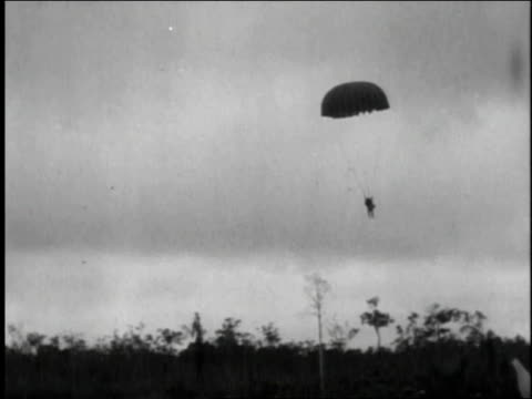 paratroopers and equipment landing in a field - fallschirmjäger stock-videos und b-roll-filmmaterial