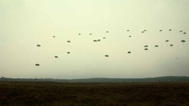 paratroopers jumping from plane to mark the 70th anniversary of the battle of arnhem - parachuting stock videos & royalty-free footage