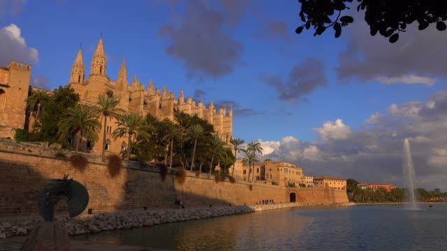 Parc de la Mar, La Seu Cathedral and Royal Palace, Palma de Mallorca, Majorca, Balearic Islands, Spain