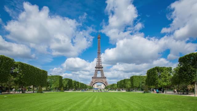 Parc du Champ de Mars, Eiffel Tower, Paris, France - Time lapse