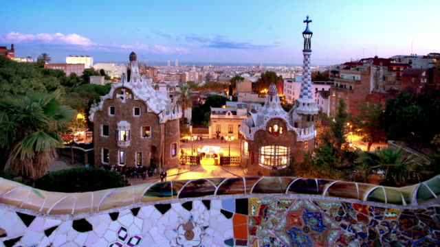 Parc Guell at Dusk, Barcelona, Spain