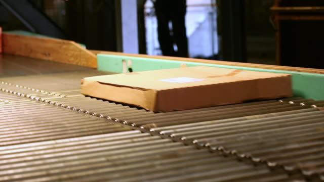 parcel transportation on conveyor belt in a distribution center - 数個の物点の映像素材/bロール