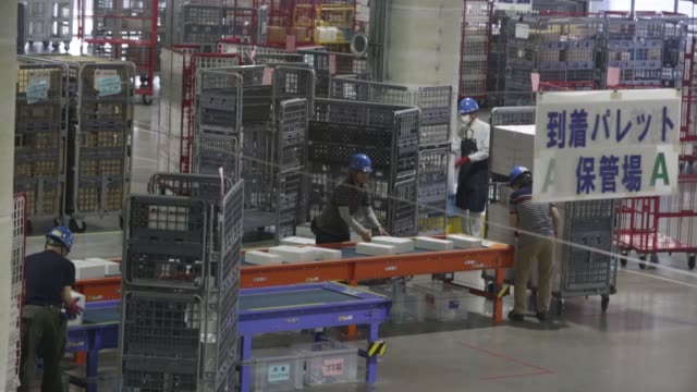 parcels for the yu pack mail service move along conveyors as they are scanned and sorted at a distribution center inside japan post co's tokyo... - post structure stock videos & royalty-free footage