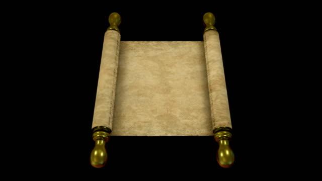 vídeos y material grabado en eventos de stock de 4k parchment scroll rolling out - torah