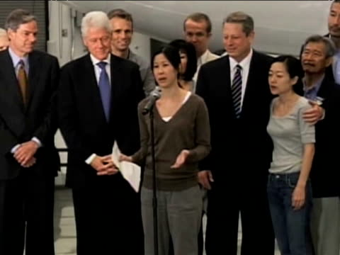 pardoned journalist lara ling comments on her joy of seeing former us president bill clinton following her release from prison 4 august 2009 - bill clinton stock videos and b-roll footage