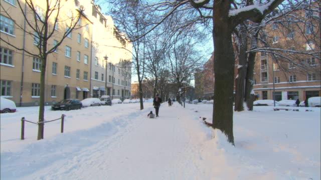 MS Parent pulling child on sled on snowy sidewalk / Stockholm, Stockholm, Sweden