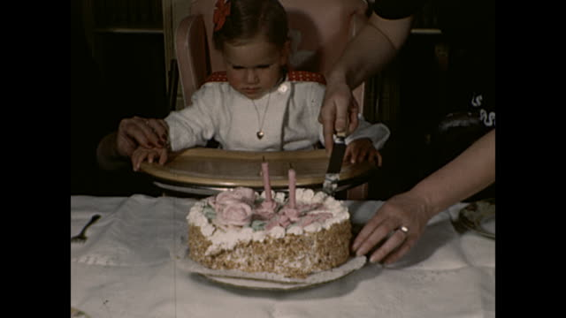1942 Parents eating cake with 2yr old baby girl - Home Movie