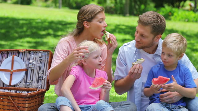 Family eating sandwiches and slices on watermelon during a picnic