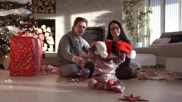 parents generation z family christmas morning party - pyjamas stock videos & royalty-free footage