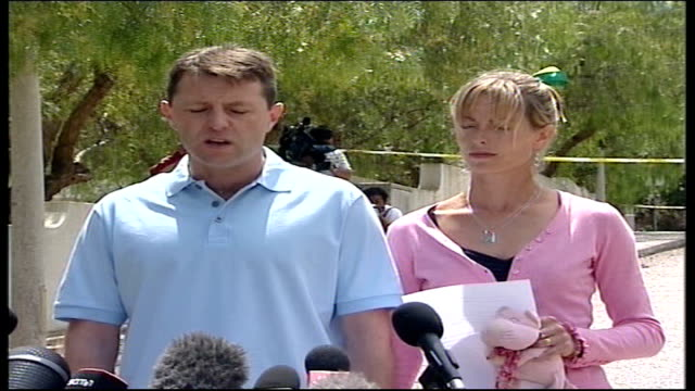 Parents of Madeleine McCann vow to travel wherever necessary to get daughter back PORTUGAL Algarve Praia da Luz EXT Gerry McCann and Kate McCann...