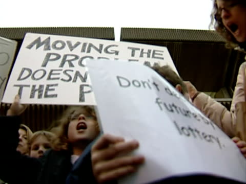 parents protest against brighton and hove council education decision england east sussex brighton ext various of parents and children at a... - east sussex stock videos & royalty-free footage