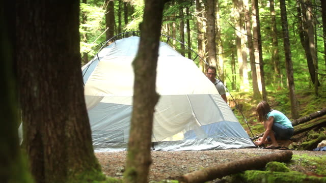 ws pan parents with children (8-11) making tent in squamish alice lake park / squamish, british columbia, canada - tent stock videos and b-roll footage