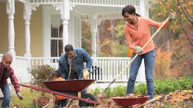 vídeos de stock e filmes b-roll de ms td parents with children (2-7) raking leaves in front yard of home / richmond, virginia, usa. - ancinho equipamento de jardinagem