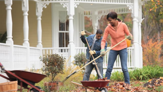 vídeos y material grabado en eventos de stock de ms td parents with children (2-7) raking leaves in front yard of home / richmond, virginia, usa. - tarea doméstica