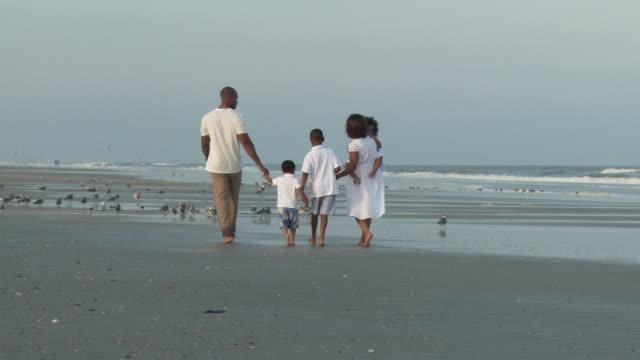 stockvideo's en b-roll-footage met ws zi pan parents with children (2-9) walking on beach / jacksonville, florida, usa - familie met drie kinderen