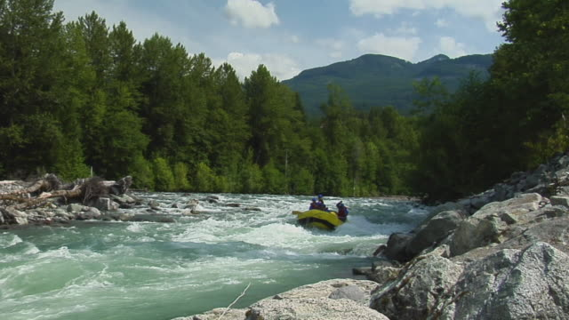 ws slo mo parents with children (8-11) white water rafting raft in river with oars / squamish, british columbia, canada - whitewater rafting stock videos & royalty-free footage