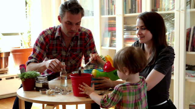 ms parents with daughter (18-23 months) playing at art table in living room / brooklyn, new york city, usa - young family stock videos & royalty-free footage