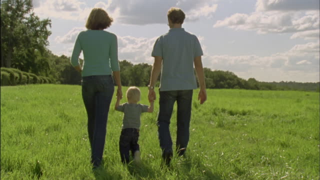 ws, parents with son (18-23 months) walking on field, rear view, chateau du parc, saint ferme, france - 18 23 months stock videos & royalty-free footage