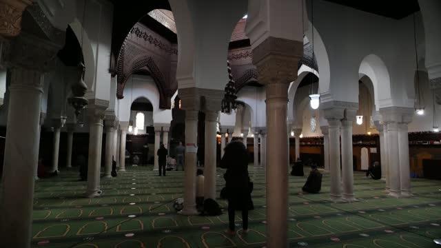 vidéos et rushes de paris and grand mosque of paris gvs; france: paris: ext / int various shots of paris, including inner city mosque. - mosquée