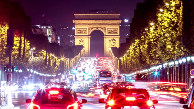 paris - arc de triomphe - arc de triomphe paris stock videos & royalty-free footage