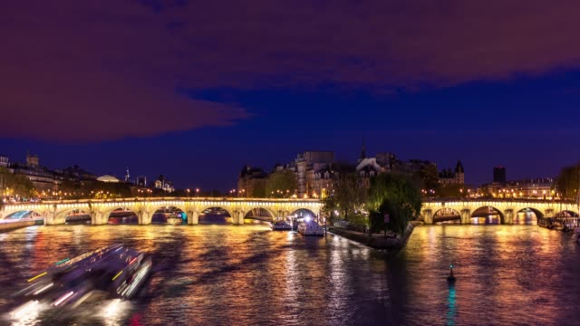 paris at night - time lapse - river seine stock videos & royalty-free footage