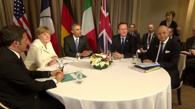 diplomatic reaction at g20 turkey antalya int g20 leaders round table for photocall matteo renzi angela merkel german chancellor barack obama david... - group of 20 stock videos & royalty-free footage