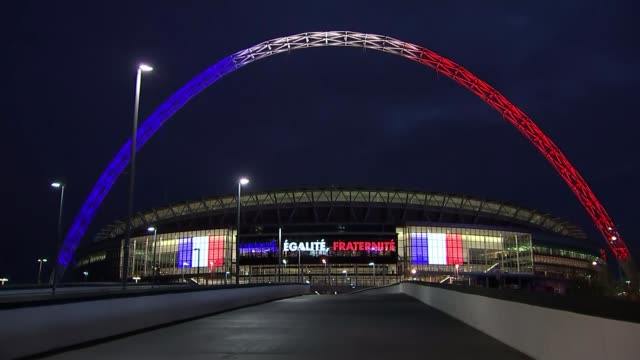 Increased security at Wembley stadium ENGLAND London Wembley Stadium Message 'Liberte Egalite Fraternite' in red white and blue on Wembley Stadium...