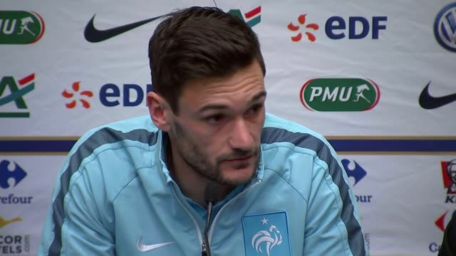 increased security at wembley stadium england london int hugo lloris into press conference with others hugo lloris press conference sot there will be... - hugo lloris stock videos and b-roll footage