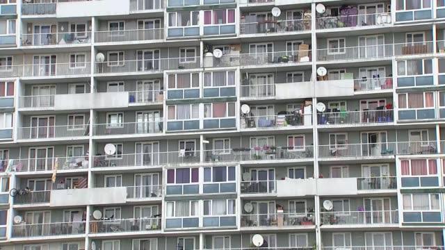 vidéos et rushes de paris reaction; france: paris: ext various shots suburban concrete flats - banlieue pavillonnaire