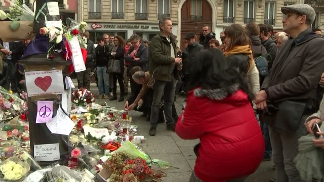 Tributes and vigil near the Bataclan Theatre Flowers and tributes near to Bataclan Theatre / Vigil at Bataclan Theatre