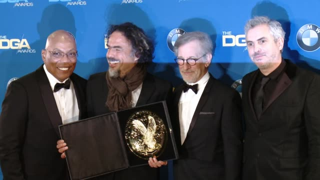 paris barclay alejandro g inarritu steven spielberg and alfonso cuaron at the hyatt regency century plaza on february 07 2015 in century city... - alfonso cuaron stock videos & royalty-free footage